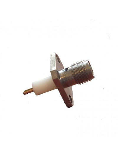 SMA Panel Mount Straight Female Receptacle Post Contact 4 Hole Flange